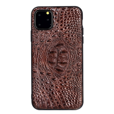 Crocodile & Alligator iPhone 11 Pro, 11 Pro Max Cases with Full Soft TPU Edges - Brown - Hornback Skin