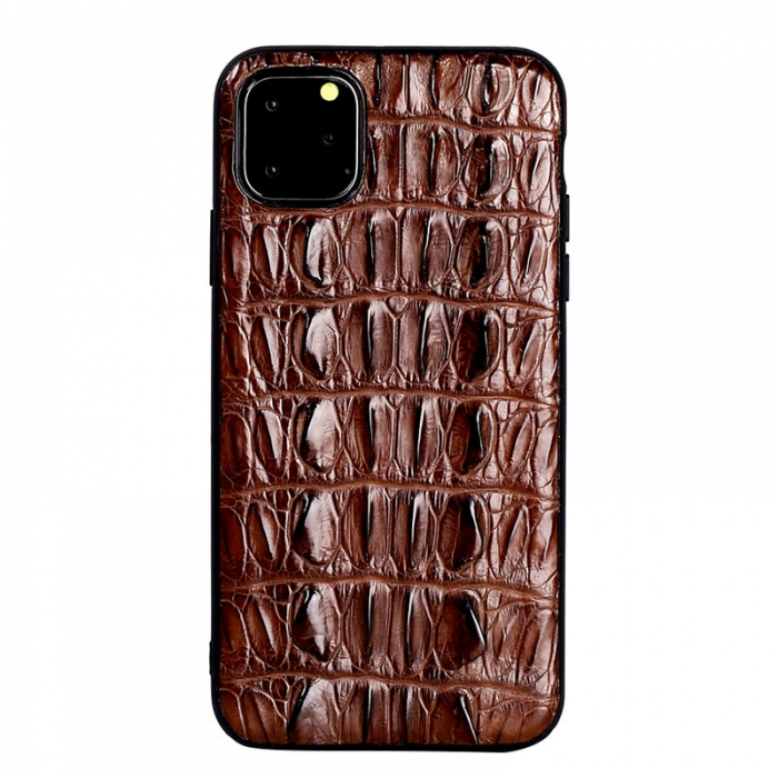 Crocodile & Alligator iPhone 11 Pro, 11 Pro Max Cases with Full Soft TPU Edges - Brown - Tail Skin