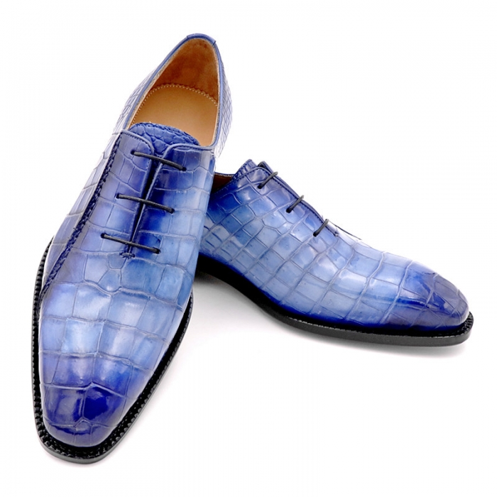 Fashion Alligator Leather Wholecut Oxford Shoes