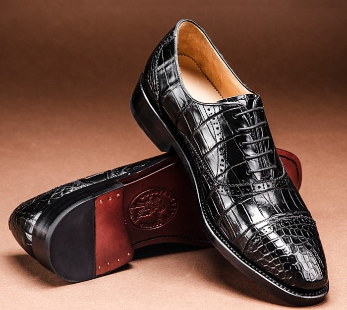 Formal Alligator Cap-Toe Lace-up Oxford Dress Shoes-1