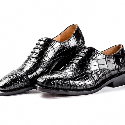 Formal Alligator Cap-Toe Lace-up Oxford Dress Shoes-Black