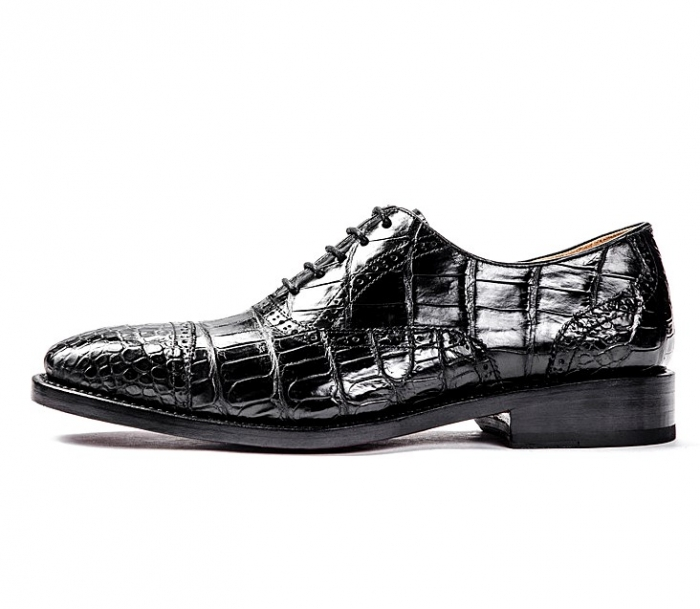 Formal Alligator Cap-Toe Lace-up Oxford Dress Shoes-Side