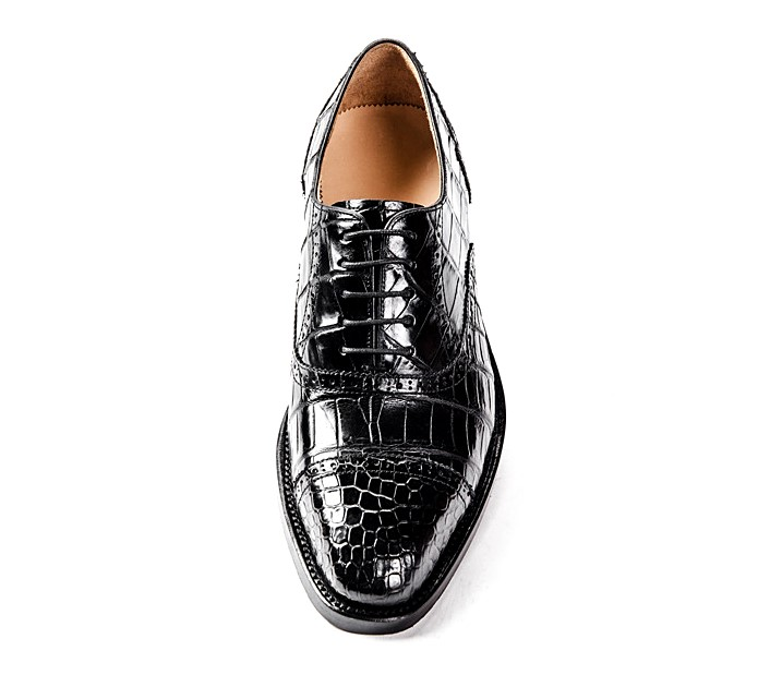 Formal Alligator Cap-Toe Lace-up Oxford Dress Shoes-Upper
