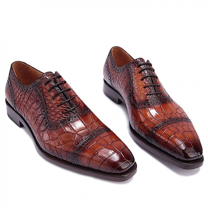 Formal Alligator Leather Cap Toe Oxford Dress Shoes-Brown-1