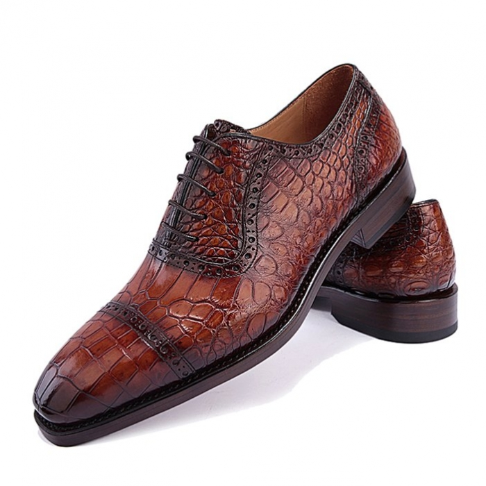 Formal Alligator Leather Cap Toe Oxford Dress Shoes-Brown