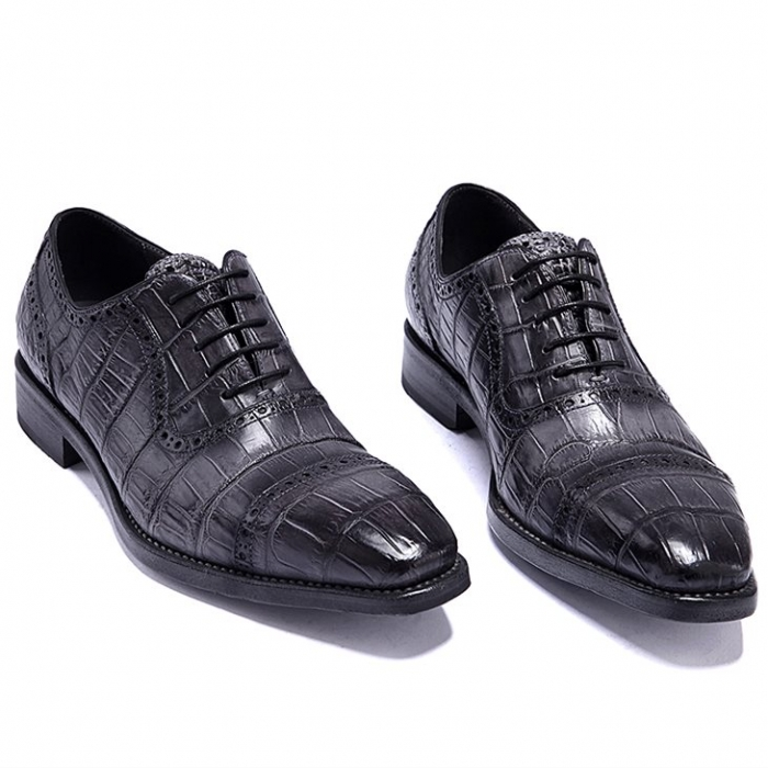 Formal Alligator Leather Cap Toe Oxford Dress Shoes-Gray-1