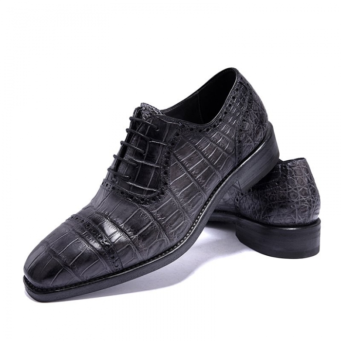 Formal Alligator Leather Cap Toe Oxford Dress Shoes-Gray