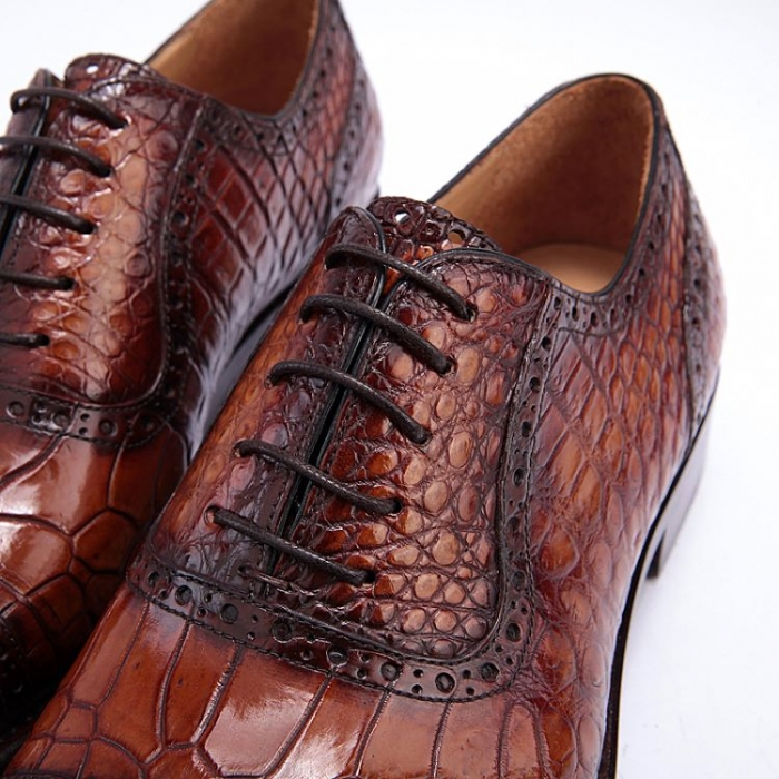 Formal Alligator Leather Cap Toe Oxford Dress Shoes-Lace-up
