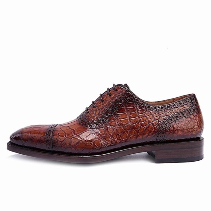 Formal Alligator Leather Cap Toe Oxford Dress Shoes-Side