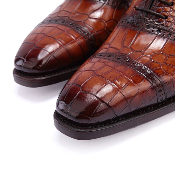 Formal Alligator Leather Cap Toe Oxford Dress Shoes-Toe