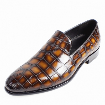 Handcrafted Alligator Leather Slip-On Loafer-Brown