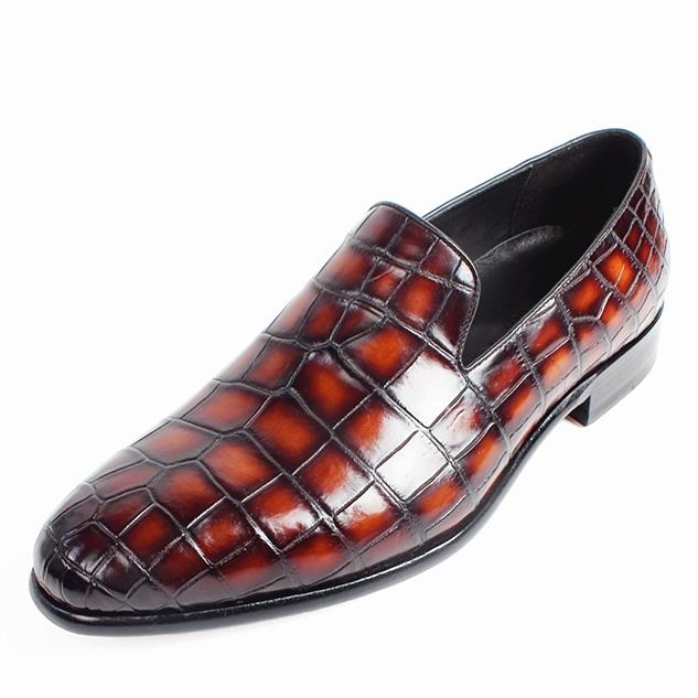 Handcrafted Alligator Leather Slip-On Loafer-Burgundy
