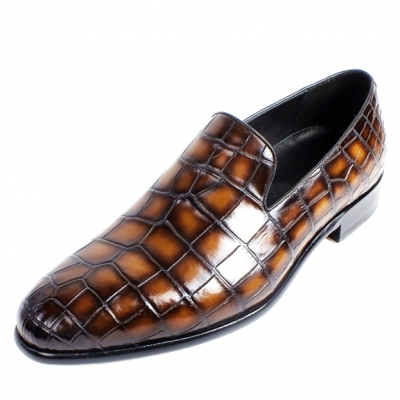 Handcrafted Alligator Leather Slip-On Loafers Causal Shoes for Men