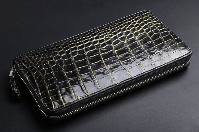 Men's Alligator Leather Long Wallet Checkbook Holder with Zipper-Golden
