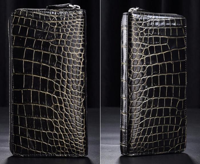 Men's Alligator Leather Long Wallet Checkbook Holder with Zipper-Golden-Details
