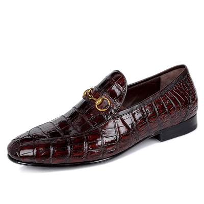 Mens Alligator Leather Horsebit Slip On Dress Loafers