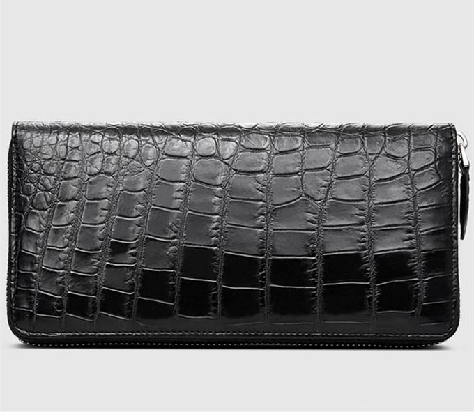 Mens Alligator Leather Long Wallet-Back