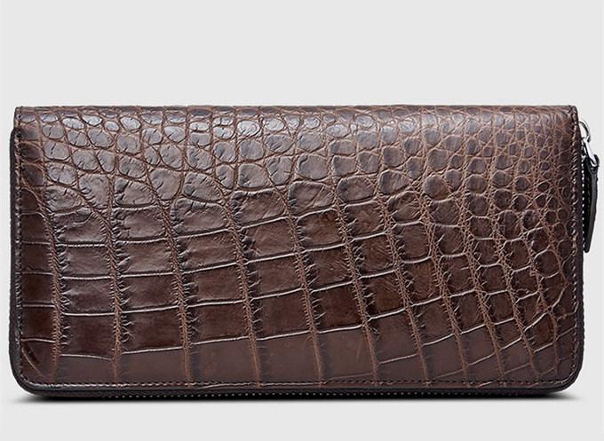 Mens Alligator Leather Long Wallet-Brown-Back