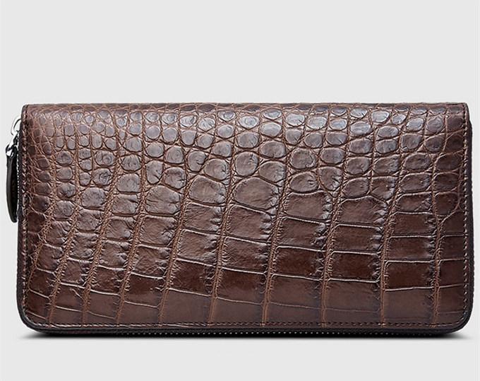 Mens Alligator Leather Long Wallet-Brown-Front