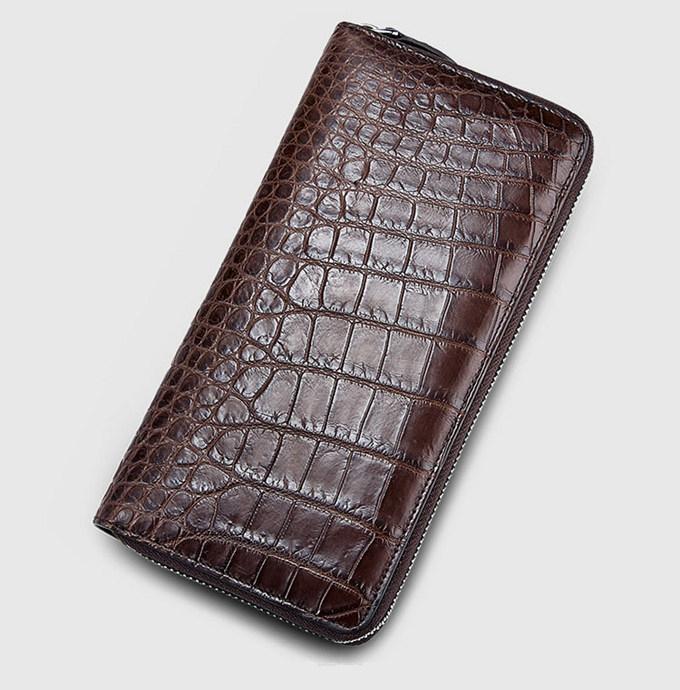 Mens Alligator Leather Long Wallet-Brown