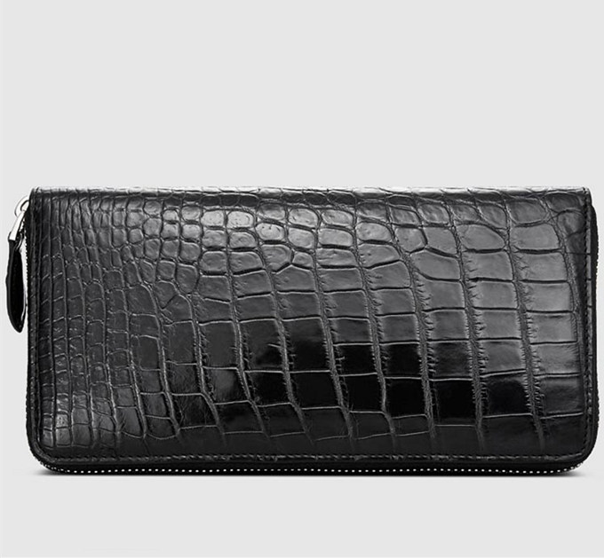 Mens Alligator Leather Long Wallet-Front