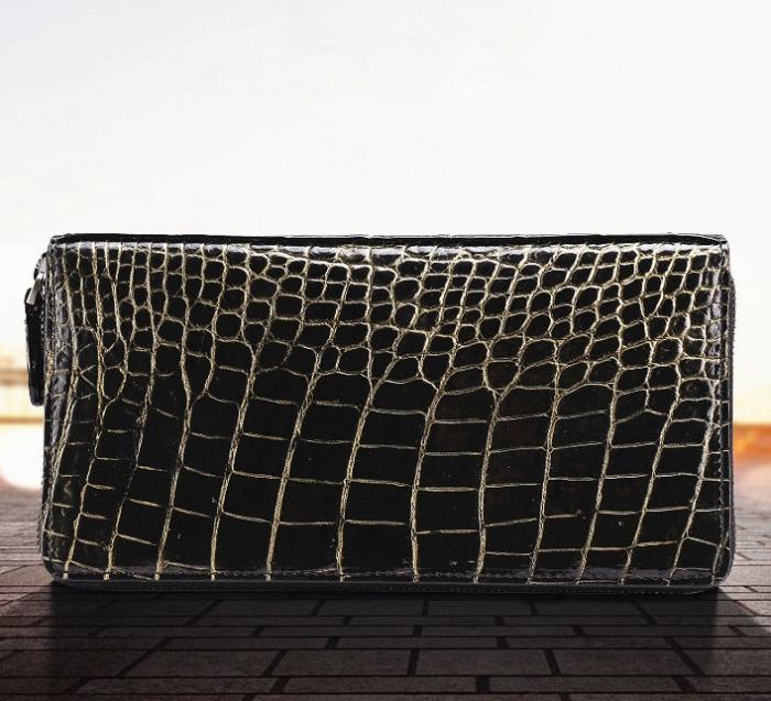 Mens Alligator Leather Long Wallet-Golden-1