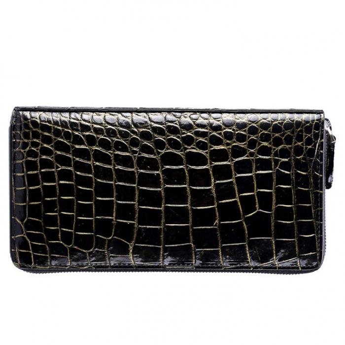 Mens Alligator Leather Long Wallet-Golden