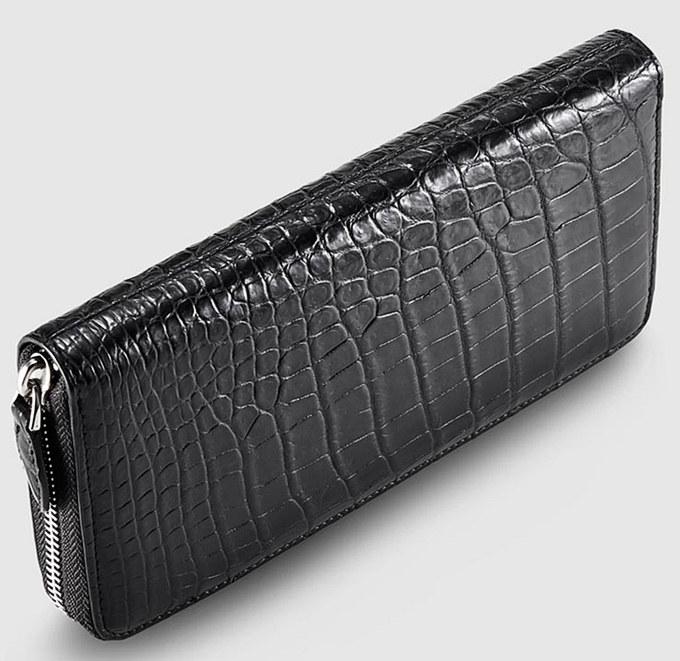 Mens Alligator Leather Long Wallet-Top