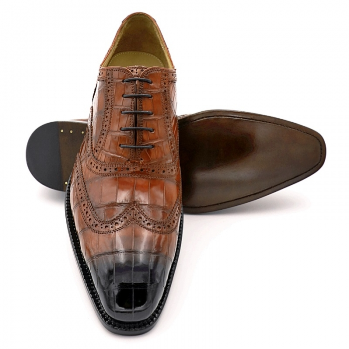 Mens Alligator Leather Wingtip Lace-Up Oxford-1