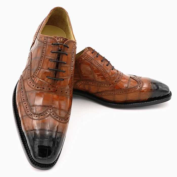 Mens Alligator Leather Wingtip Lace-Up Oxford-2