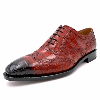Mens Alligator Leather Wingtip Lace-Up Oxford-Burgundy