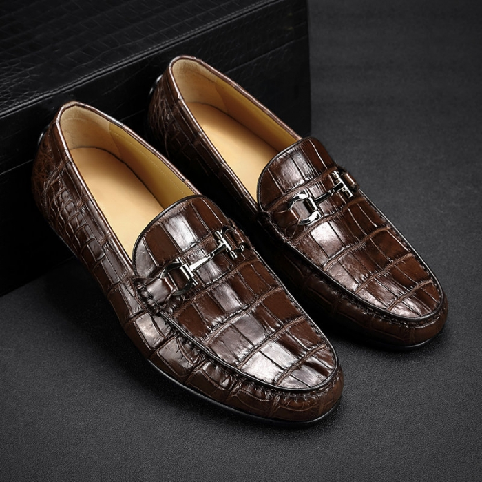 Mens Alligator Penny Loafers Driving Style Moccasin Shoes-Brown