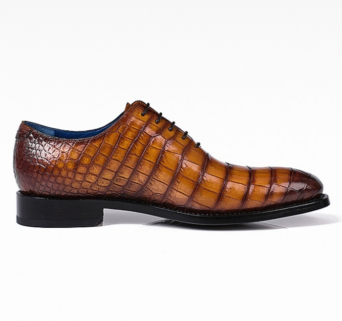 Alligator Leather Lace up Shoes Wholecut Oxford Shoes-Side