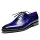Alligator Oxford Formal Office Dress Shoes for Men-Blue