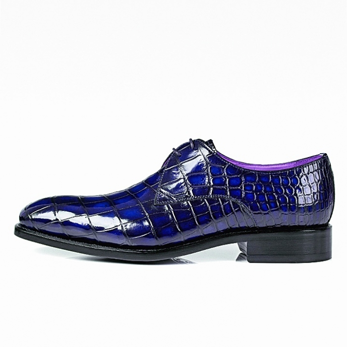 Alligator Oxfords Lace Up Leather Lined Dress Shoes-Blue