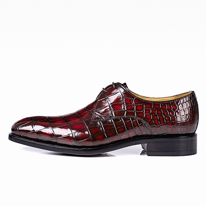 Alligator Oxfords Lace Up Leather Lined Dress Shoes-Burgundy