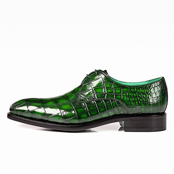 Alligator Oxfords Lace Up Leather Lined Dress Shoes-Green