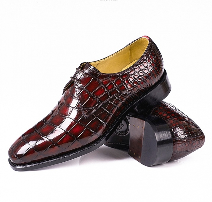 Alligator Oxfords Lace Up Leather Lined Dress Shoes for Men