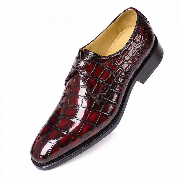 Alligator Oxfords Lace Up Leather Lined Dress Shoes for Men-Burgundy
