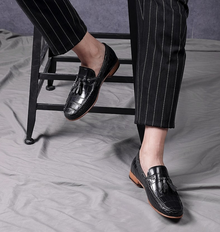Alligator Skin Slip-on Moccasin Tie-Bow Loafer Driving Shoes