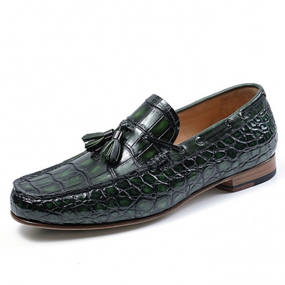 Alligator Slip-on Moccasin Tie-Bow Loafer Driving Shoes