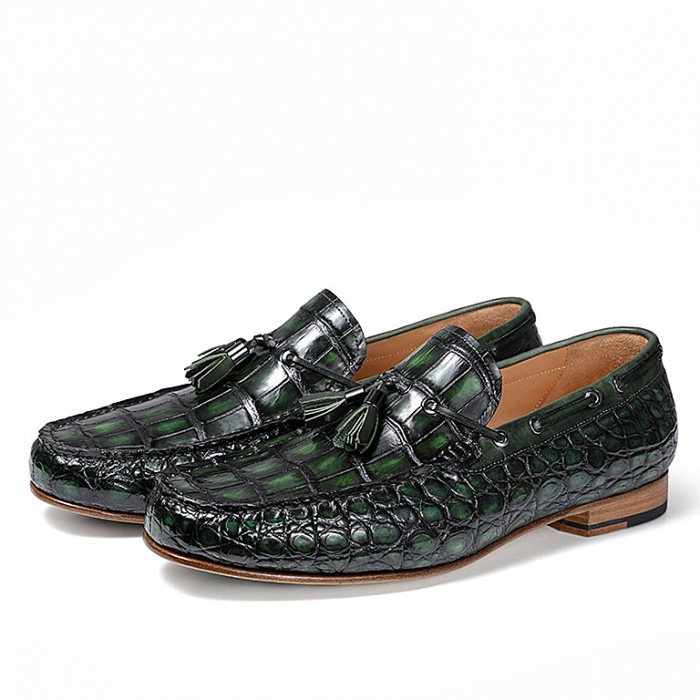 Alligator Slip-on Moccasin Tie-Bow Loafer Driving Shoes-Green