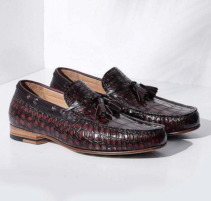Alligator Slip-on Moccasin Tie-Bow Loafer Driving Shoes-Burgundy-1