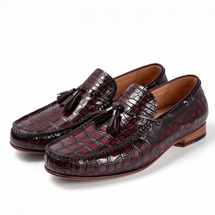 Alligator Slip-on Moccasin Tie-Bow Loafer Driving Shoes-Burgundy