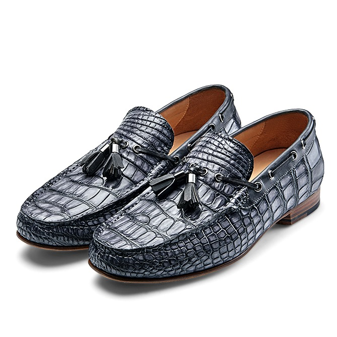 Alligator Slip-on Moccasin Tie-Bow Loafer Driving Shoes-Gray