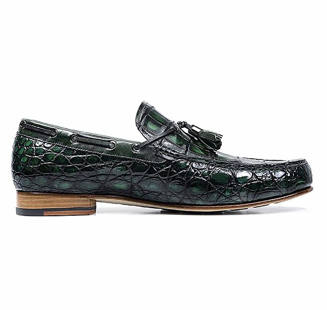 Alligator Slip-on Moccasin Tie-Bow Loafer Driving Shoes-Side