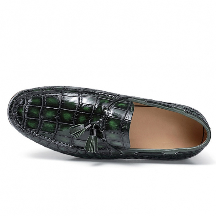 Alligator Slip-on Moccasin Tie-Bow Loafer Driving Shoes-Upper