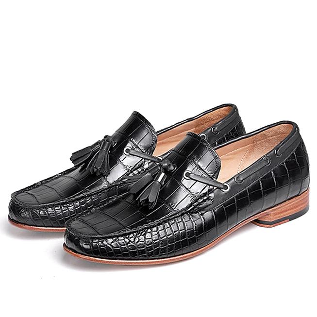 Alligator Slip-on Moccasin Tie-Bow Loafer Driving Shoes for Men-Black