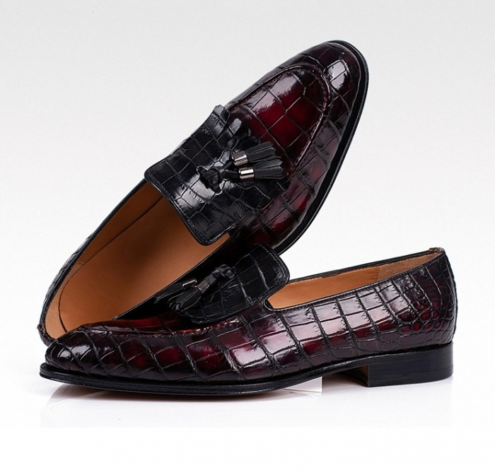 Alligator Tassel Slip-On Loafer in Goodyear Welted Construction-1