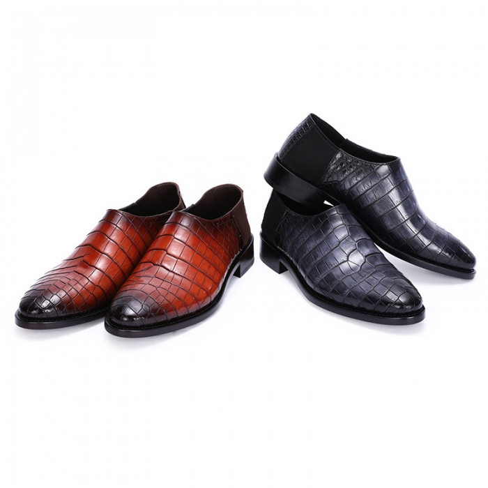 Casual Alligator Leather Loafer Comfortable Slip-on Shoes for Men